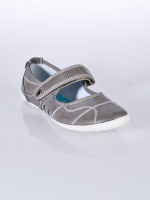 Туфли серые с контрастной строчкой и перфорацией   22822