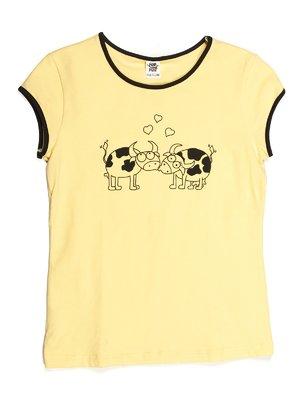 Футболка желтая с принтом | 544095