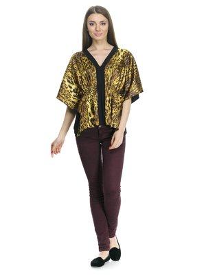 Блуза черная с анималистическим принтом   799622