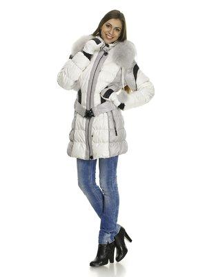 Куртка бело-серая пуховая с отороченным мехом капюшоном и поясом-резинкой - Lypuly - 619402