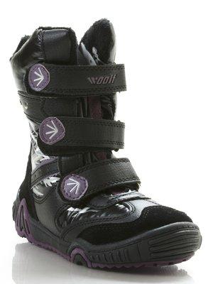 Сапоги черные с фиолетовым на липучках   206898