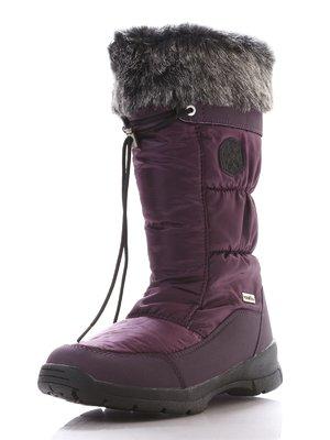 Сапоги бордово-фиолетовые на молнии и стилизованной кулиске   206903