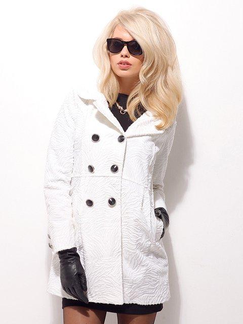 Пальто молочного цвета двубортное Sense 861519