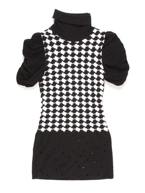 Туника черно-белая в гусиную лапку De Salitto 895038