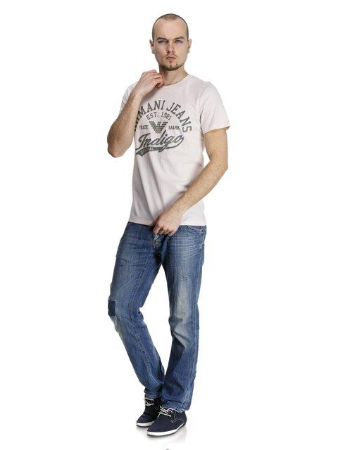 Футболка світло-бежева з написами Armani Jeans 944809