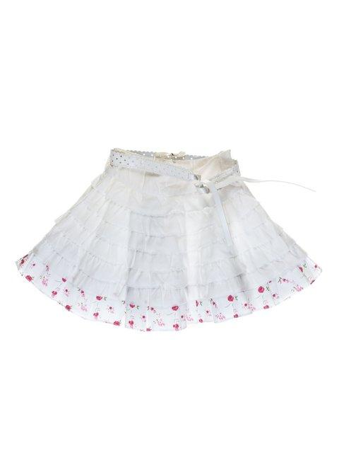 Спідниця біла з оборкою квітковий принт і ременем De Salitto 973739