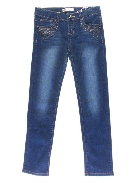 Джинсы синие с эффектом потертых и декором Olimpia 1039074