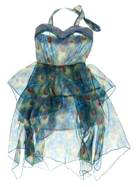 Сукня синьо-зелена в принт з декором Olimpia 1039154