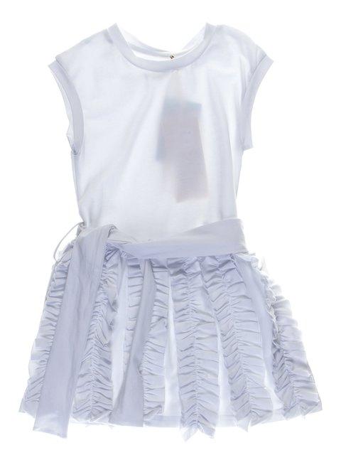 Сукня біла з рюшами і поясом-зав'язкою De Salitto 1039054