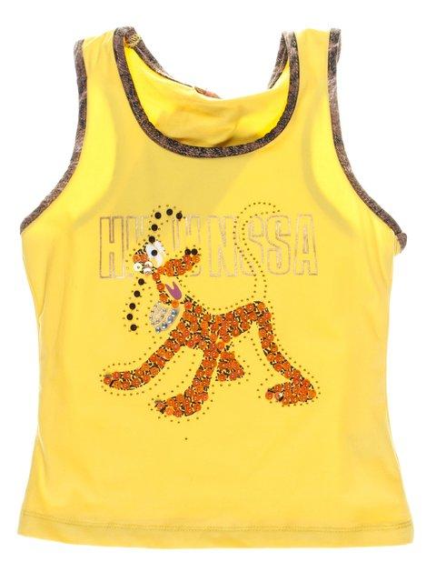 Майка жовта з декорованим принтом і контрастним оздобленням Hoo Ponette 1051288