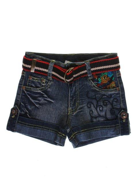 Шорты синие с эффектом слегка потертых и вышивкой джинсовые ColaBear 1051112