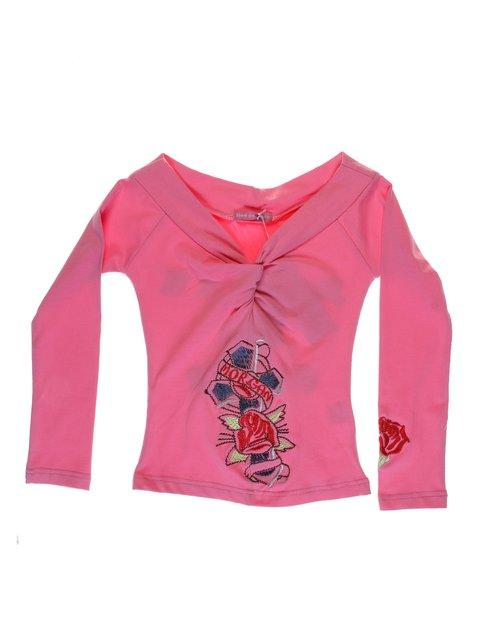 Лонгслів рожевий з вишивкою Hoo Ponette 1051239