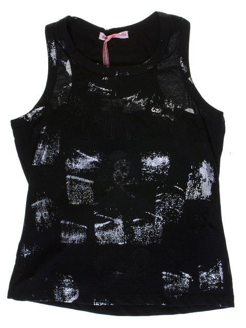 Майка черная в принт Hoo Ponette 1051282