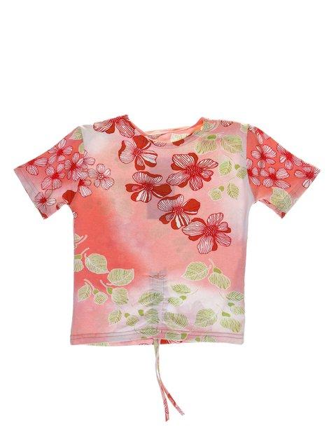Футболка красно-розовая в цветочный принт DAISY GIRLS 1051173
