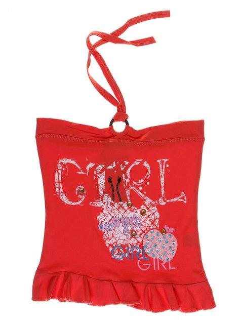 Топ кораллового цвета с декорированным принтом Perla Girls 1051348