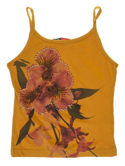 Топ гірчичного кольору з декорованим квітковим принтом DAISY GIRLS 1051169