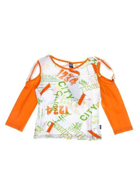 Джемпер біло-оранжевий в написи SJW 1051376