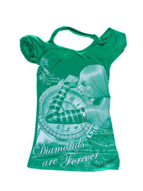 Туника зеленая с принтом Perla Girls 1076915