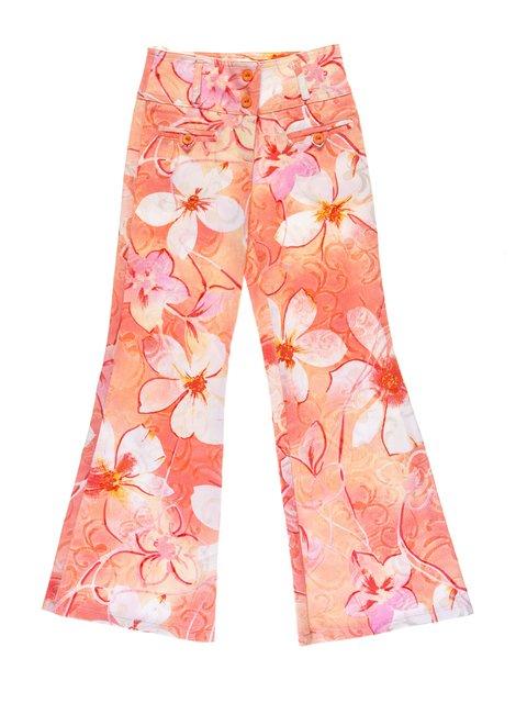 Штани помаранчеві в квітковий принт Vivien 1076741