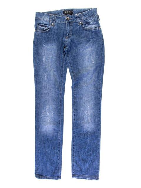 Джинси сині з ефектом потертих VCP 1076956