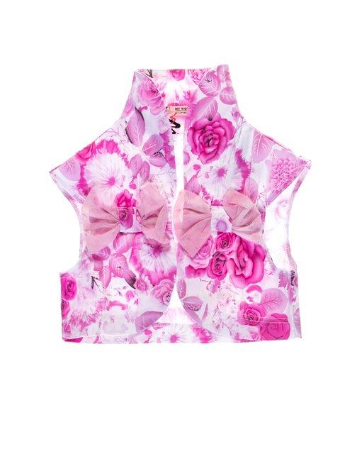 Жилет бело-розовый в цветочный My Way 1076686