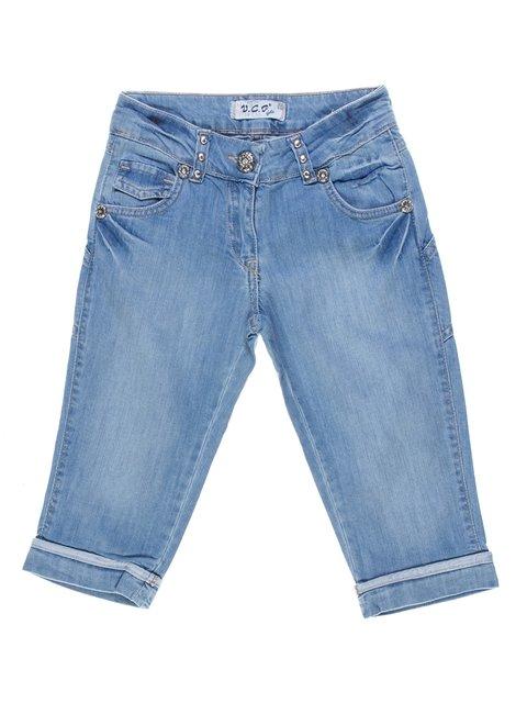 Шорти блакитні джинсові з ефектом потертих VCP 1076954