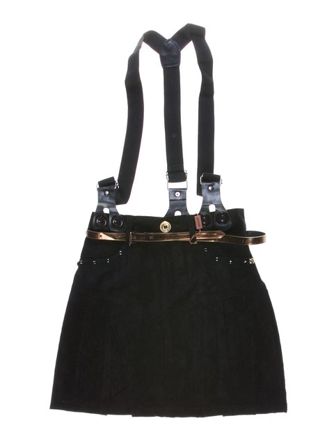 Юбка черная в складку с подтяжками и декором Qialuo 1270001