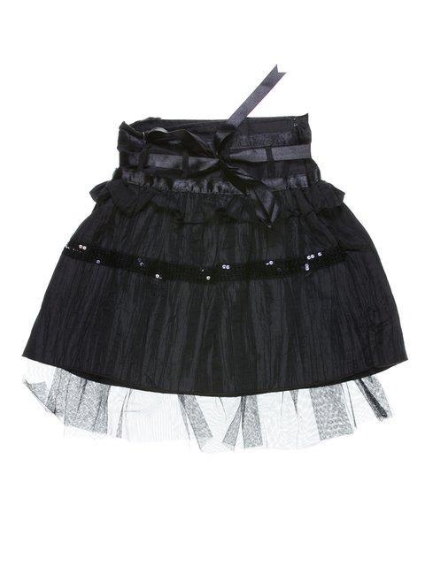Юбка черная с оборкой и декором MOONLIGHT 1269957