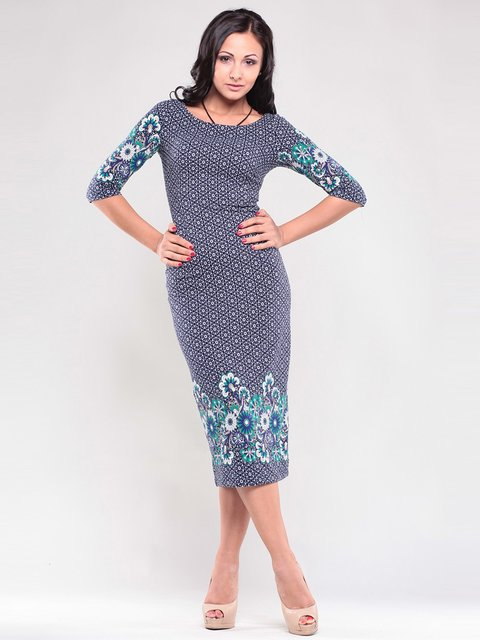 Платье темно-синее в принт Maurini 1343779