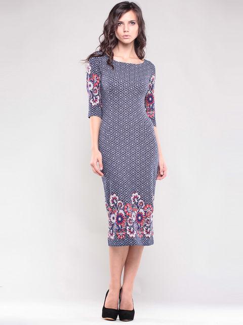 Платье темно-синее в принт Maurini 1343780