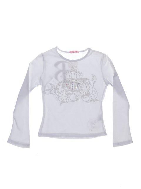 Лонгслів білий з вишивкою і декором Hoo Ponette 1364704