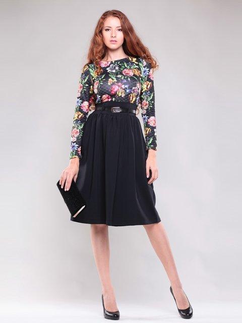 Платье черное в цветочный принт Maurini 1397216