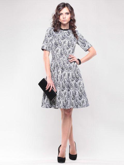 Платье бело-серое в принт Maurini 1438924