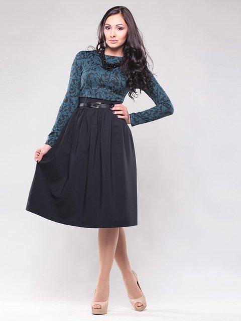 Платье черно-зеленое в принт Maurini 1438942