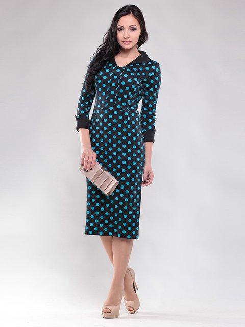 Сукня чорного кольору в бірюзовий горох Maurini 1460389
