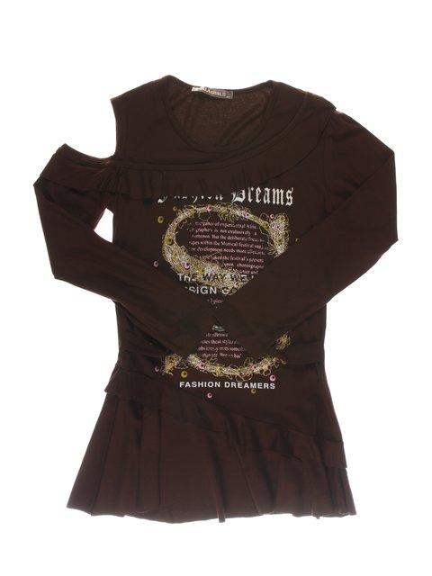 Туника коричневая с принтом и рюшами Perla Girls 1457406