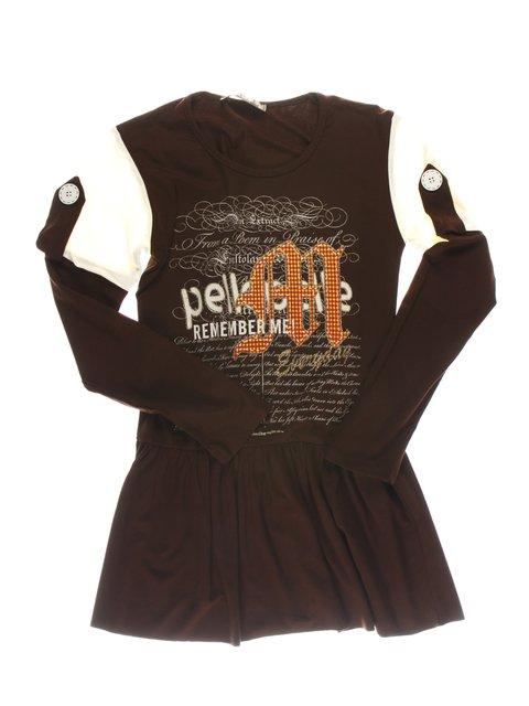 Туника коричневая с принтом Perla Girls 1457401