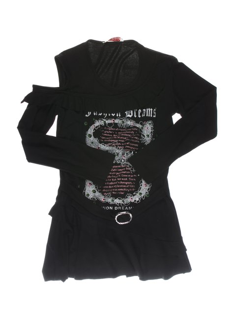 Туника черная с принтом и рюшами Perla Girls 1457404