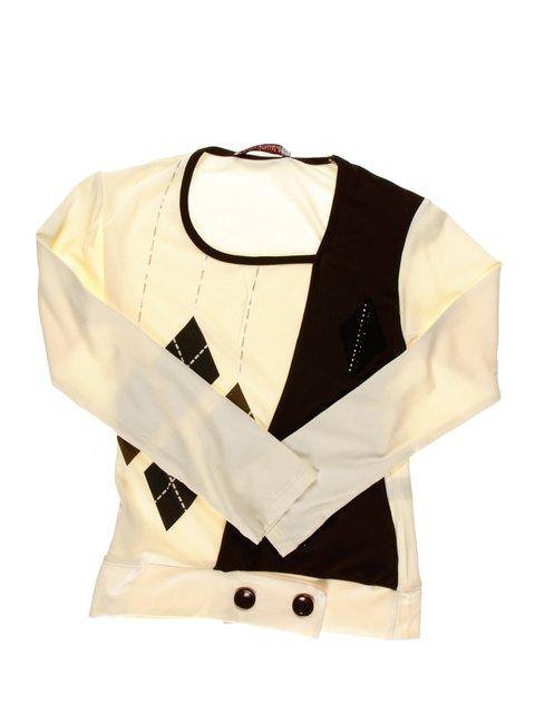Джемпер коричнево-белый с принтом Perla Girls 1457397