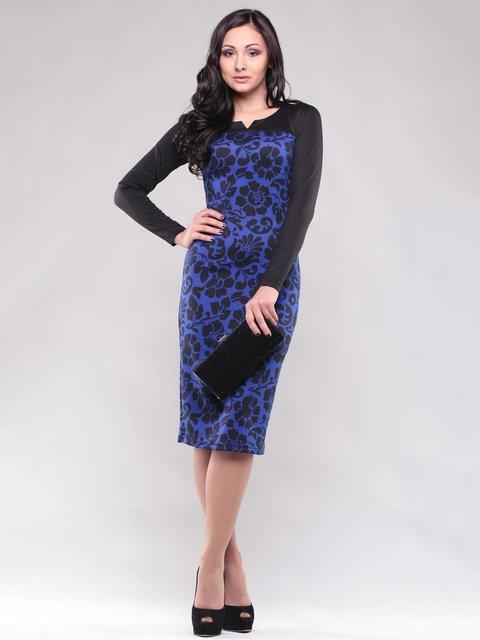 Сукня чорно-синя в квітковий принт Maurini 1475003
