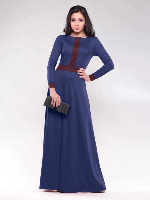 Платье темно-синее с контрастной отделкой Maurini 1502873