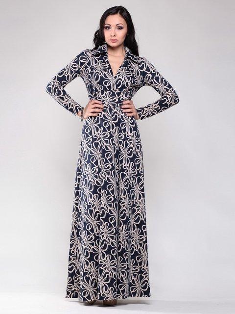 Сукня темно-синя в принт Maurini 1502856