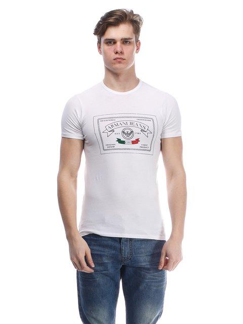 Футболка біла з принтом Armani Jeans 1521686