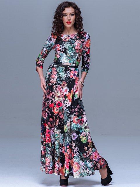 Платье черное в цветочный принт Jet 1527127