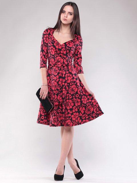 Сукня чорно-червона в квітковий принт Maurini 1574528