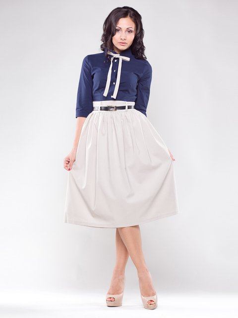 Платье сине-бежевое Maurini 1593140