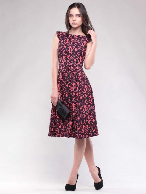 Платье кораллово-черное в принт Dioni 1599758