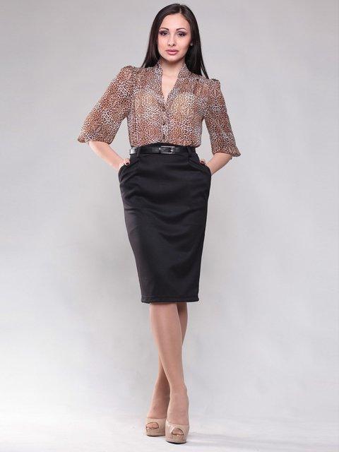 Сукня коричнево-чорна з анімалістичним принтом Dioni 1604478