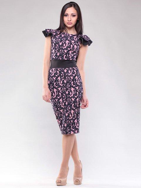 Сукня рожево-чорна в принт Dioni 1604486