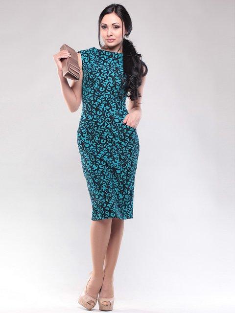 Платье бирюзово-черное в принт Rebecca Tatti 1608591